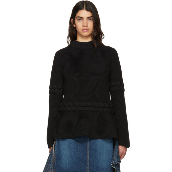 Image of Sacai Black Braided Knit Pullover