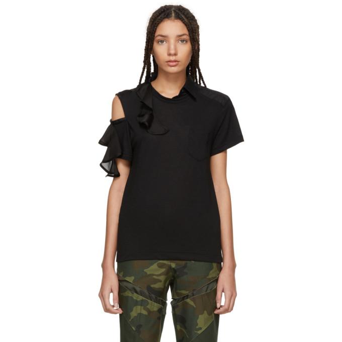 Image of Sacai Black Asymmetric Ruffle T-Shirt