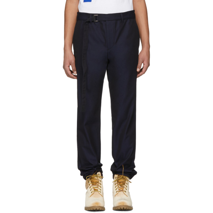 Sacai Pantalon ceinturé bleu marine