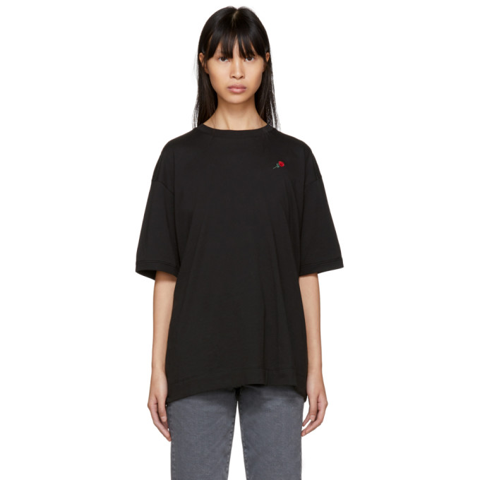 Image of 6397 SSENSE Exclusive Black Embroidered Rose Sport T-Shirt