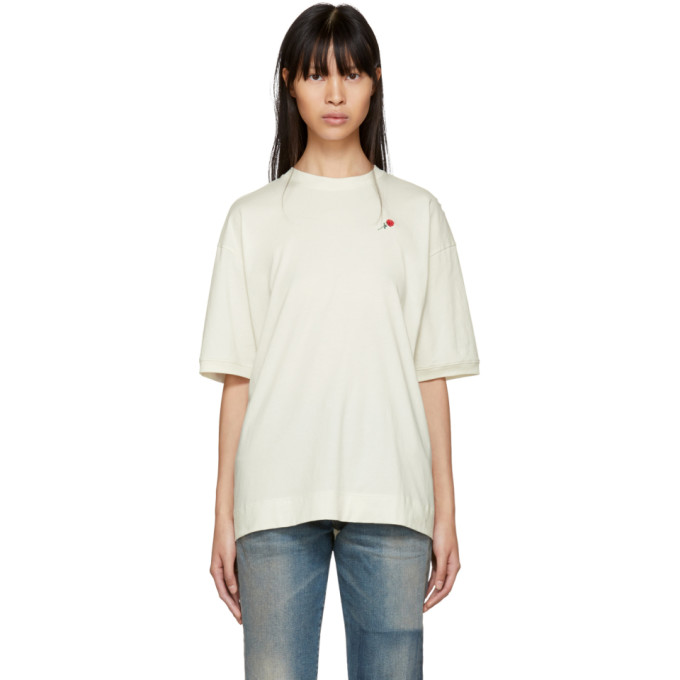 Image of 6397 SSENSE Exclusive White Embroidered Rose Sport T-Shirt