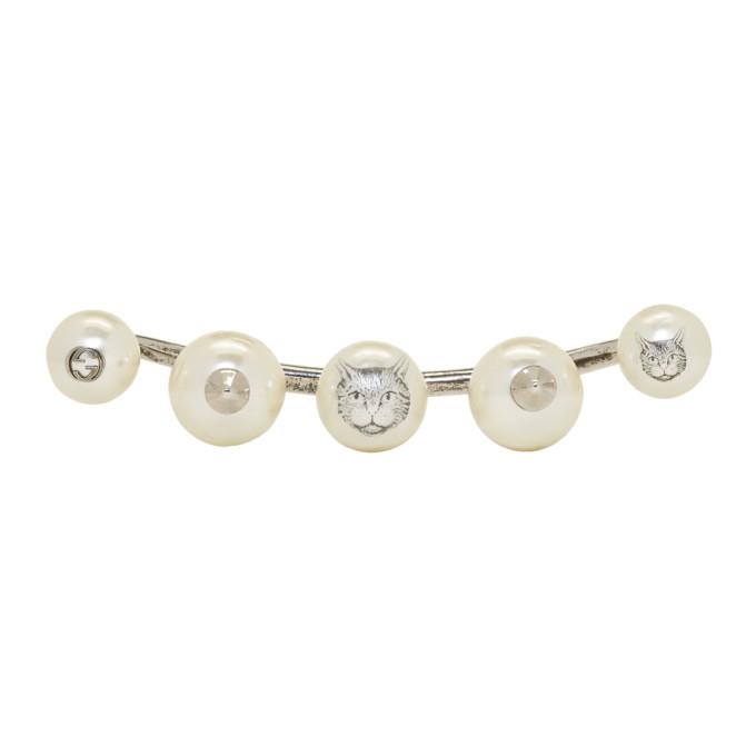Gucci Silver Five-Pearl Multi-Finger Ring
