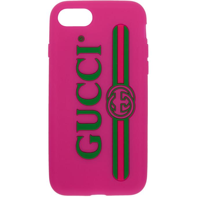 Gucci ピンク ベルベット ロゴ iPhone 7 ケース