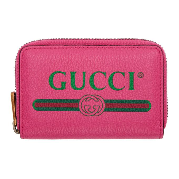 Gucci Pink Logo Zip Around Wallet