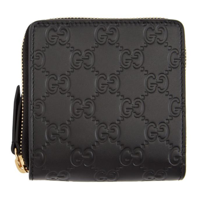 Gucci Black 'Gucci Signature' Zip-Around Wallet