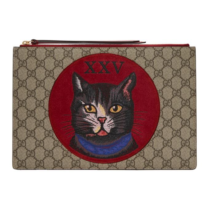 Gucci Brown GG Supreme Oblo Cat Pouch