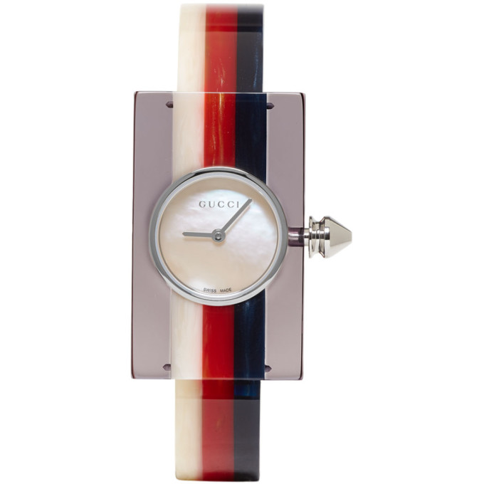 Gucci Multicolor Plexiglass Vintage Web Watch