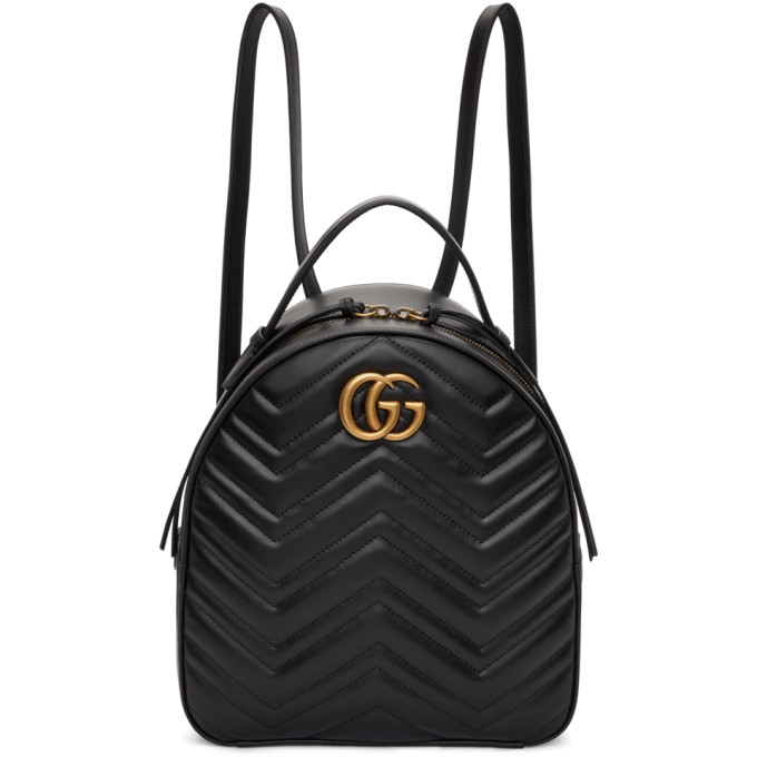 Gucci Black GG Marmont Quilted Chevron Backpack