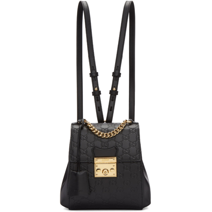 Gucci Black Zaino GG Padlock Backpack