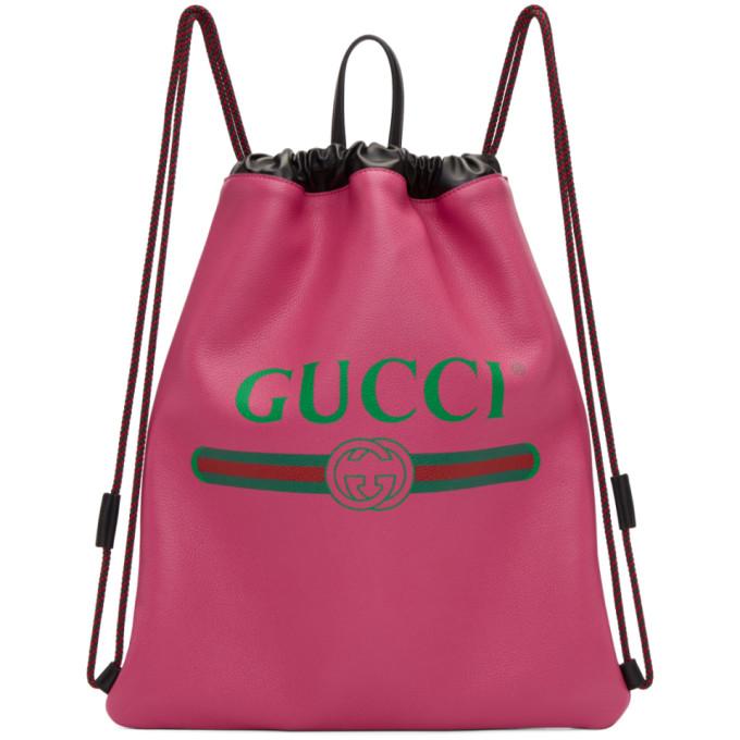 Gucci Pink Fake Gucci Drawstring Backpack