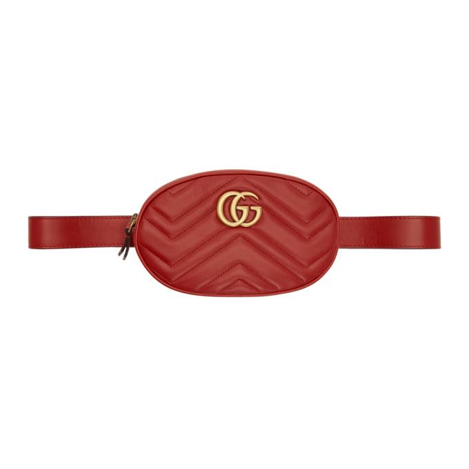 Gucci レッド GG マーモント 2.0 ベルト バッグ