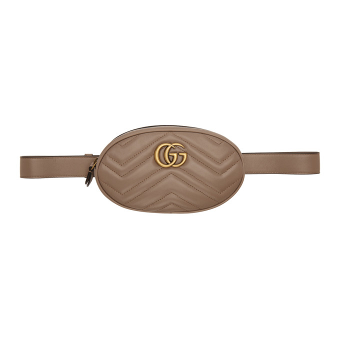 Gucci Taupe GG Marmont 2.0 Belt Pouch