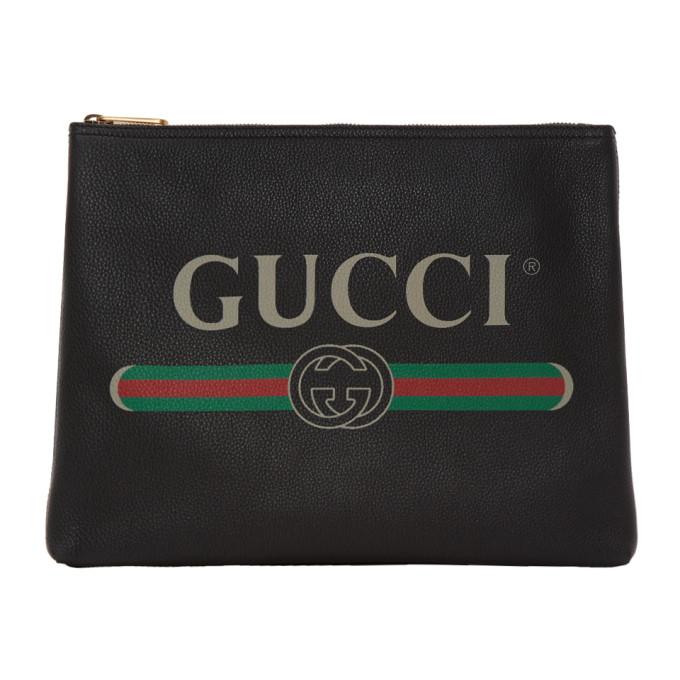 Gucci Black Medium Logo Pouch