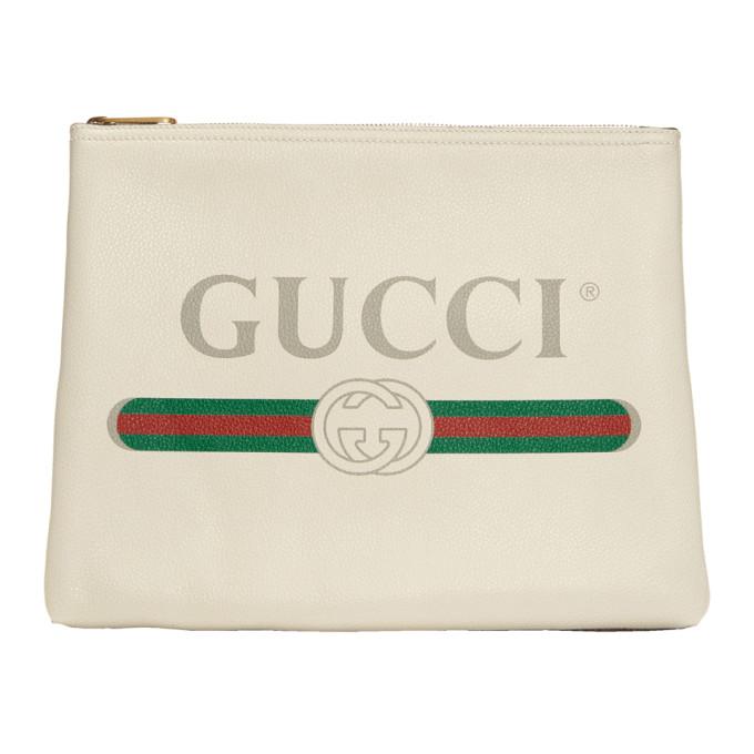 Gucci White Medium 'Fake Gucci' Pouch
