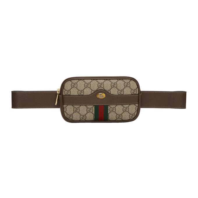 Gucci ブラウン ミニ GG スプリーム デフォルト ベルト バッグ