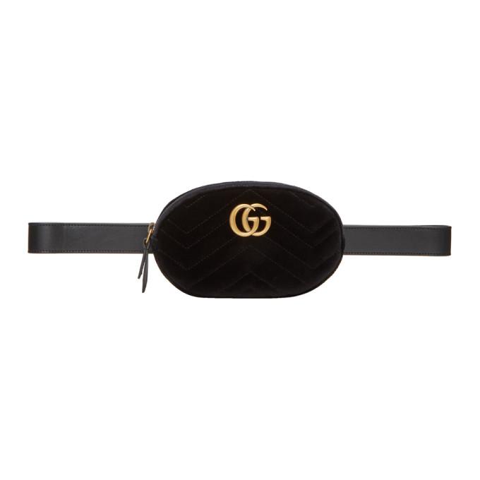Gucci Black Velvet Quilted GG Marmont Belt Bag