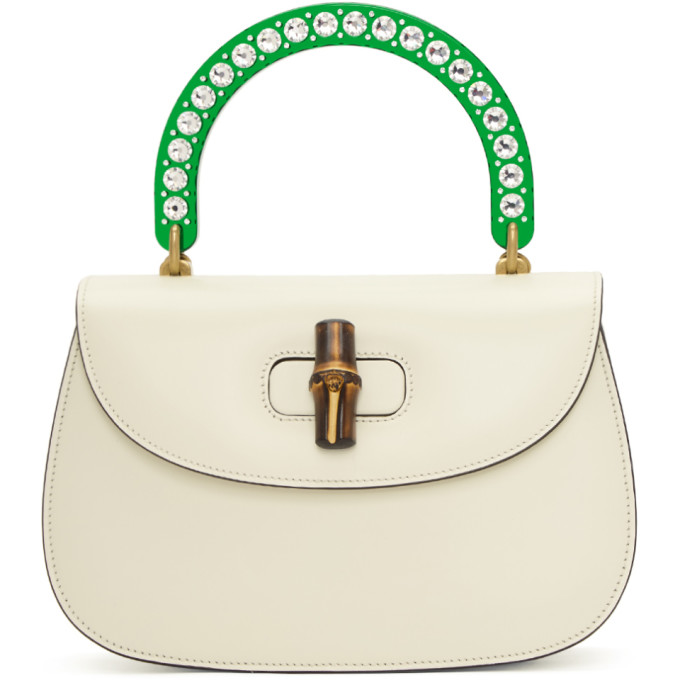 Gucci White Medium Borsa Bamboo Bag