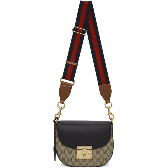 fc7a2ea57e2 Gucci Brown and Black Medium GG Supreme Padlock Bag