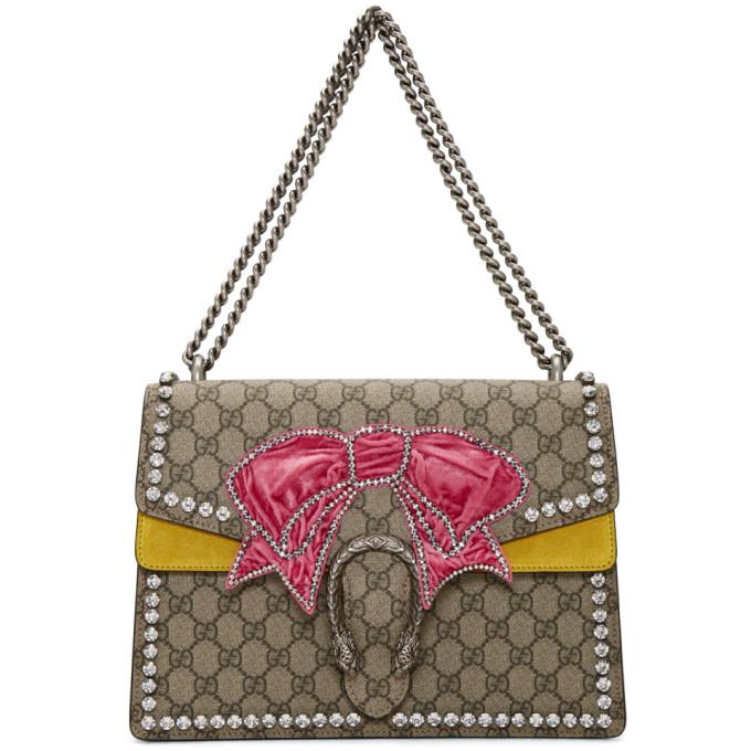 Gucci Brown Medium Crystal Bow Dionysus GG Bag