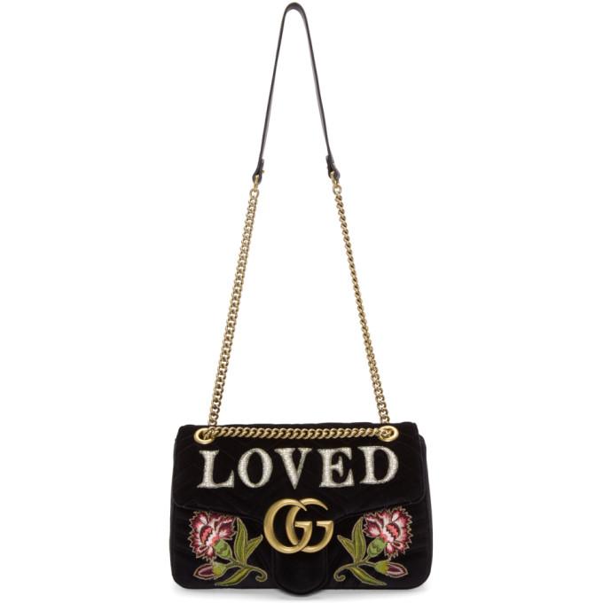 Gucci Black Velvet Medium 'Loved' GG Marmont 2.0 Bag