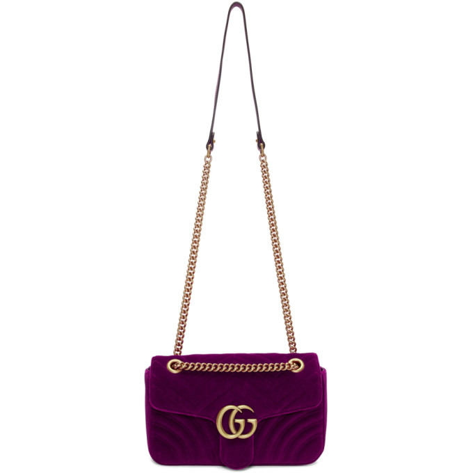 Gucci Pink Small Velvet GG Marmont 2.0 Bag