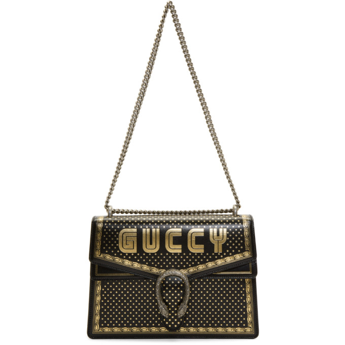 Gucci Black Medium Sega 'Guccy' All Over Dionysus Bag
