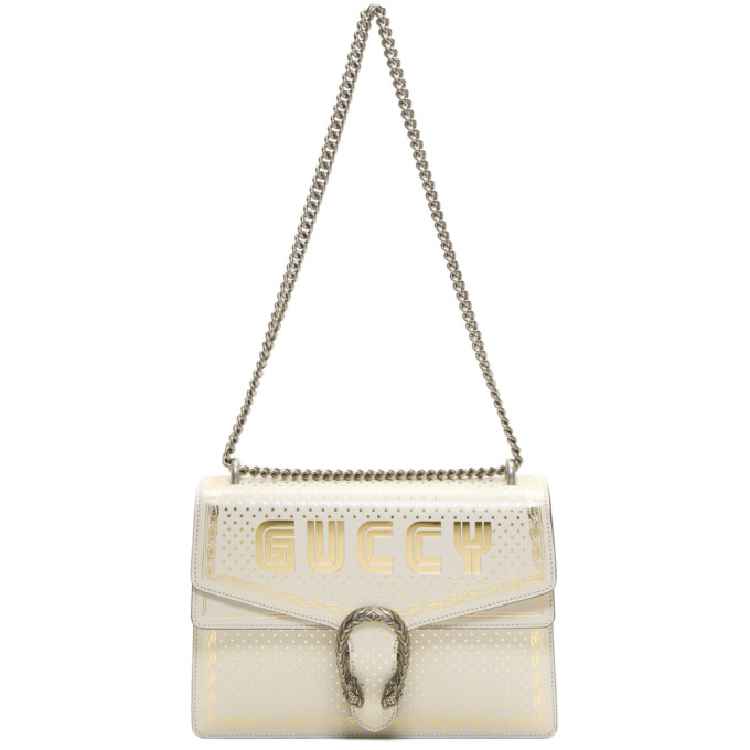 Gucci White Medium 'Guccy' All Over Dionysus Bag