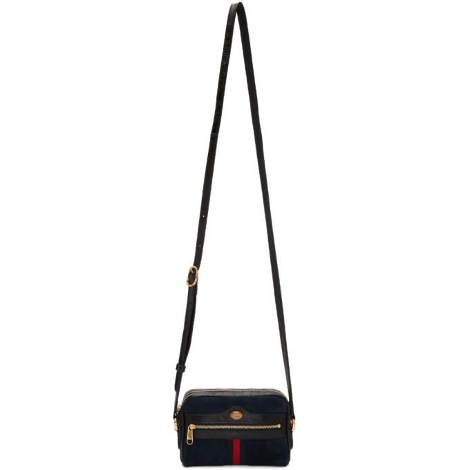 Gucci Navy Suede Mini Ophidia Bag
