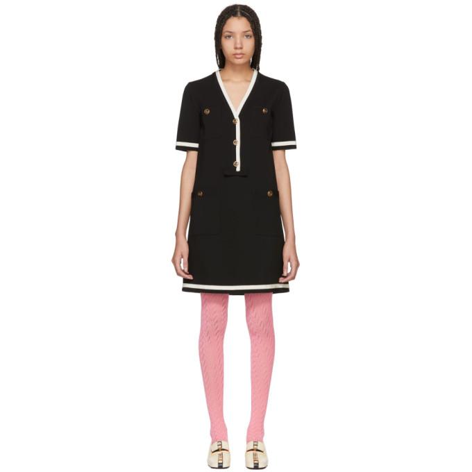Gucci ブラック ストライプ パイピング ドレス