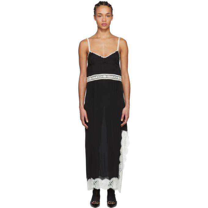 Gucci ブラック レース ロゴ スリップ ドレス