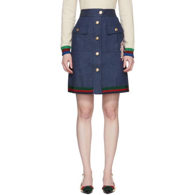 Gucci ブルー デニム A ライン スカート