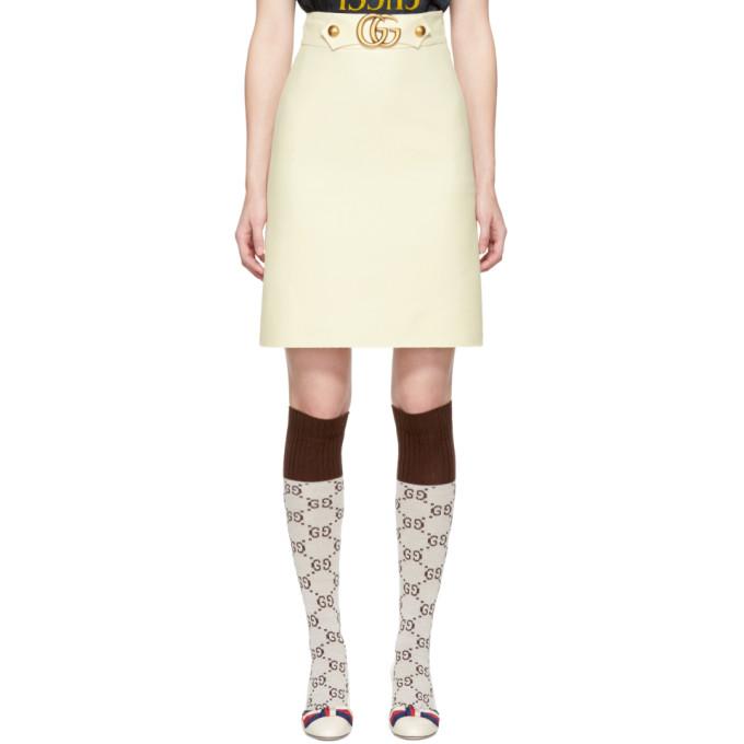 Gucci オフホワイト GG ベルト ミニスカート