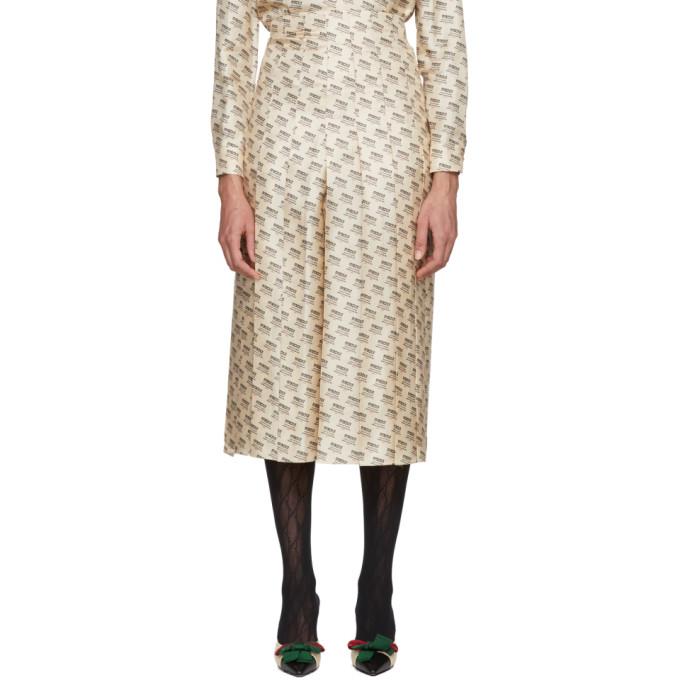 Gucci ベージュ オール オーバー ロゴ スタンプ スカート