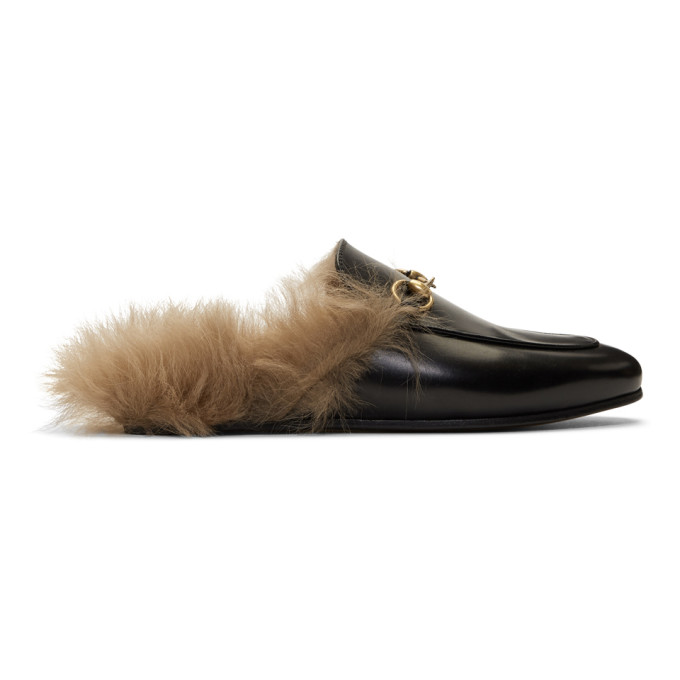 Gucci Black Wool-Lined Princetown Slippers