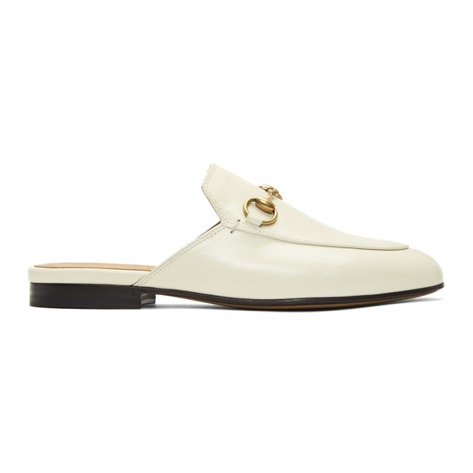 Gucci White Princetown Slippers