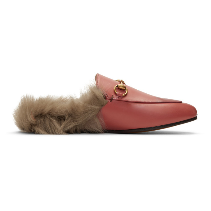 Gucci Pink Wool-Lined Princetown Slippers