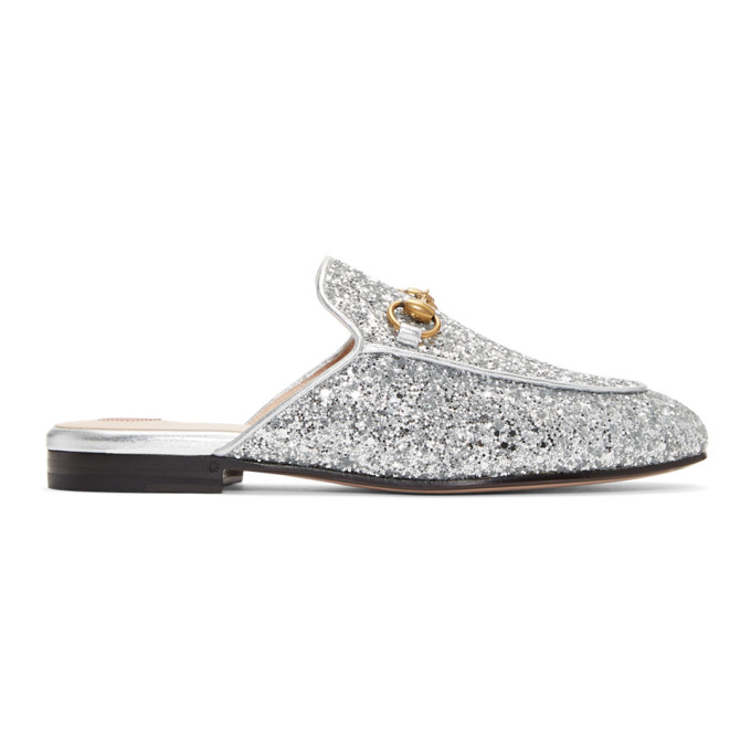 Gucci Silver Glitter Princetown Slippers