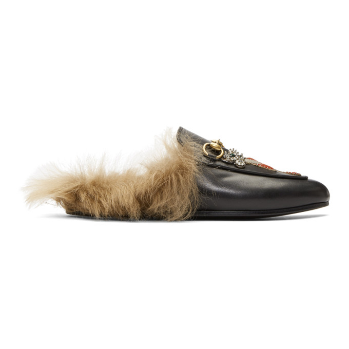 Gucci Black Pierced Heart Princetown Slippers