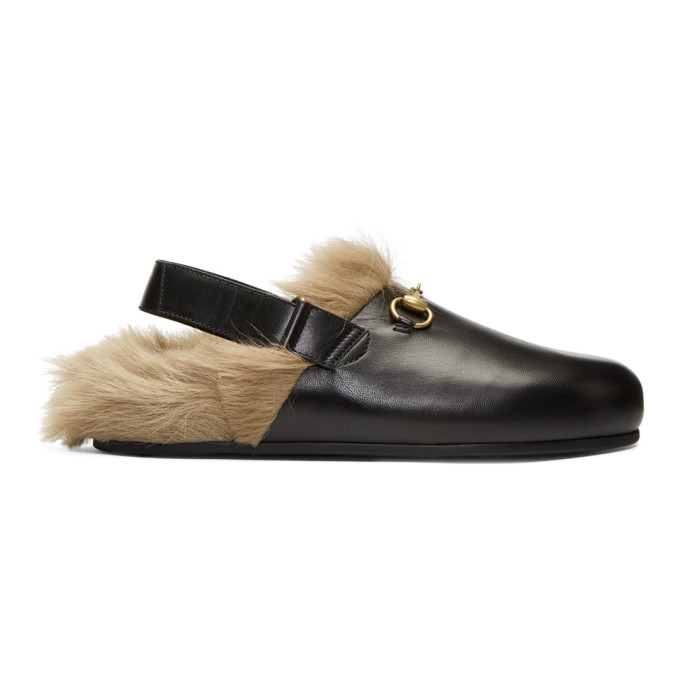 Gucci Black Horsebit River Slippers