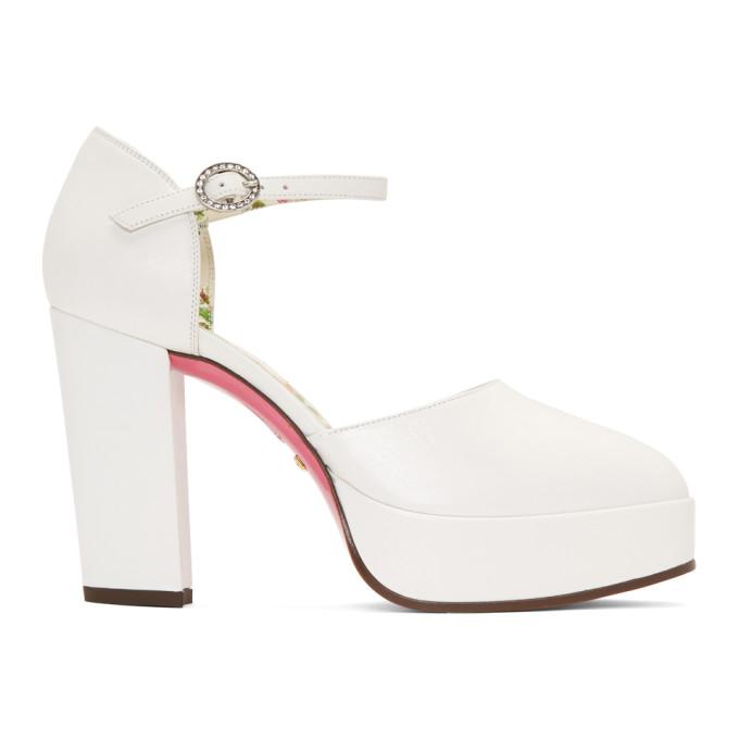 Gucci White Agon Heels