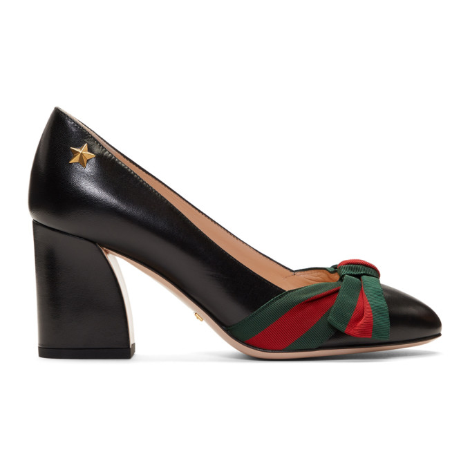 Gucci Black Grosgrain Bow Aline Heels