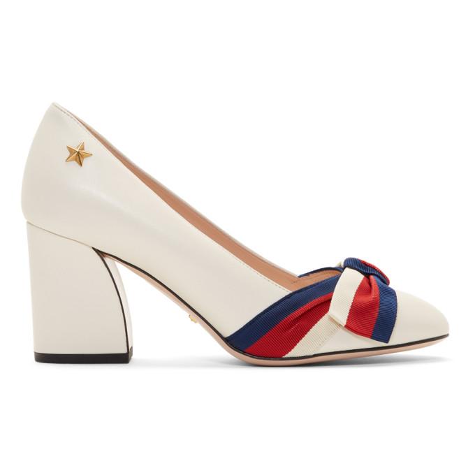 Gucci White Grosgrain Bow Aline Heels