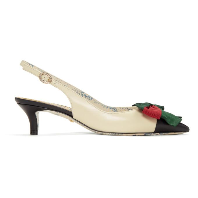 Gucci White & Black Sackville Slingback Heels