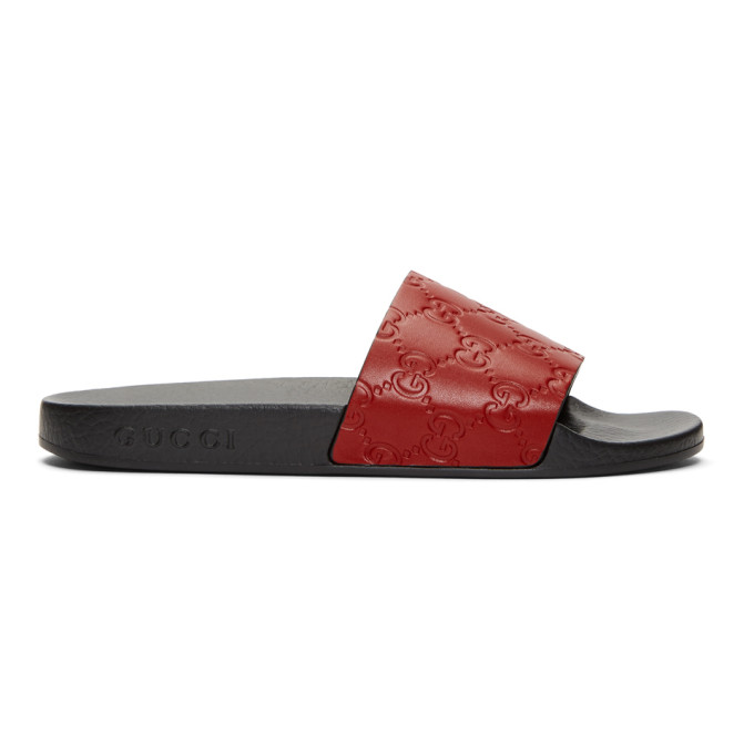 Gucci Red GG Supreme Pool Slides