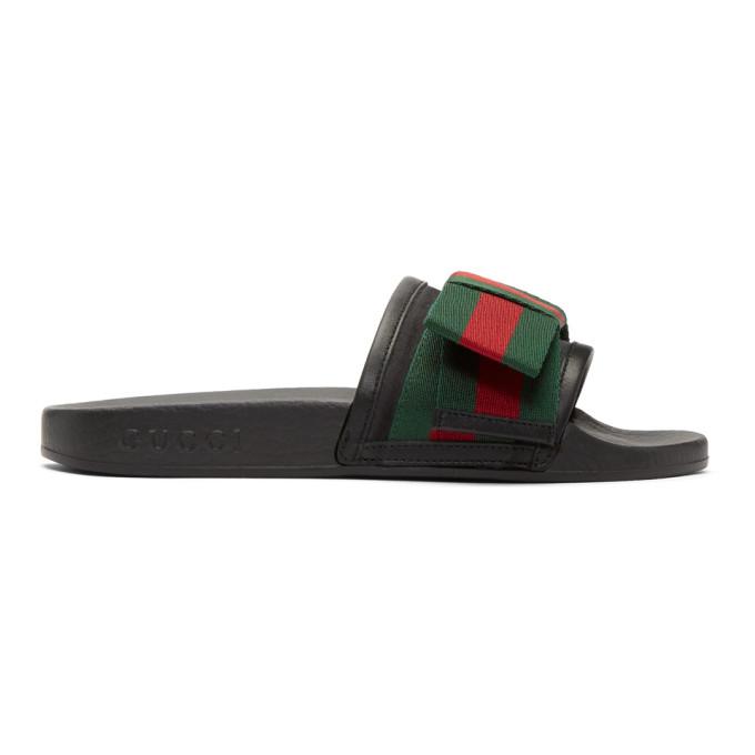Gucci ブラック ボウ プール スライド