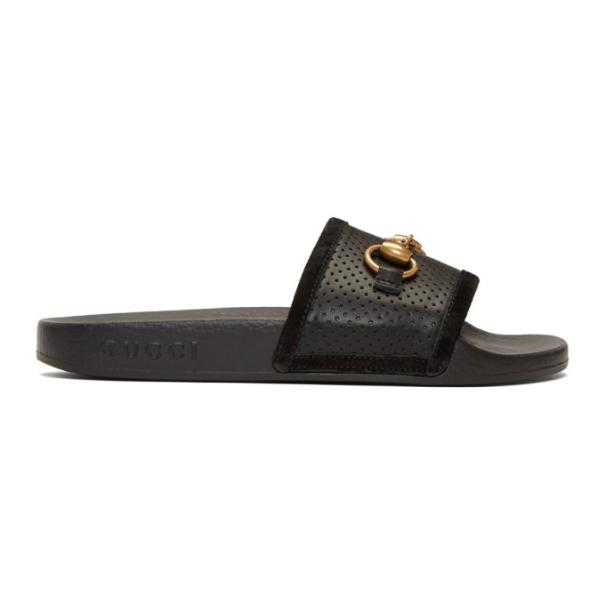 Gucci Black Horsebit Pursuit Slides