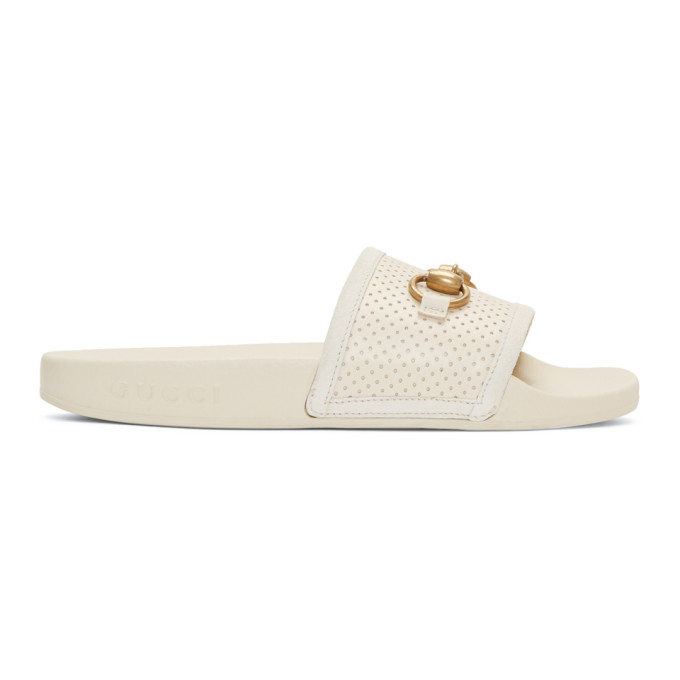 Gucci Ivory Horsebit Pursuit Slides