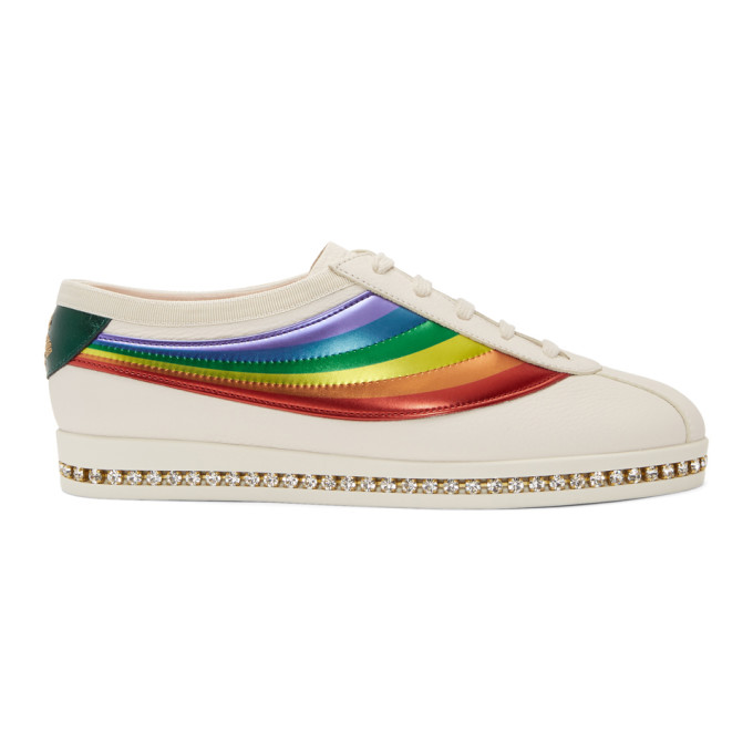 Gucci White Crystal Falacer Rainbow Sneakers