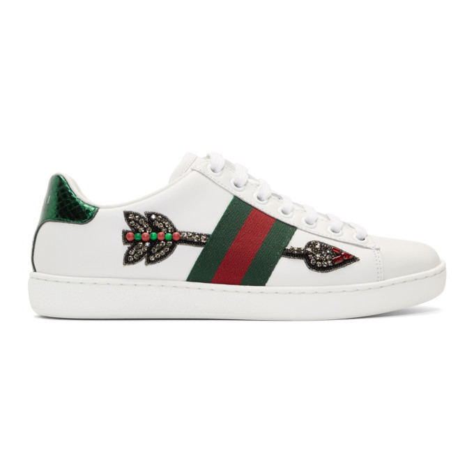 Gucci White Bleeding Arrow Ace Sneakers