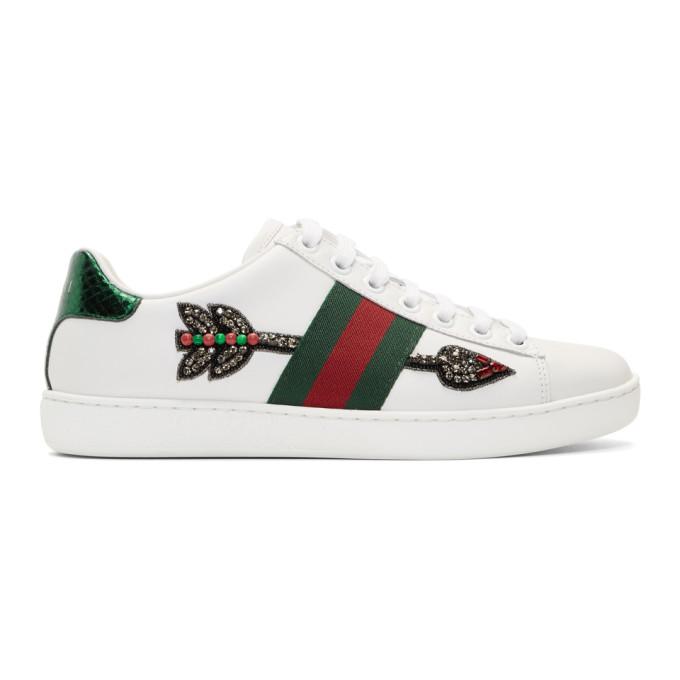 e21f8326a4d Gucci White Bleeding Arrow Ace Sneakers